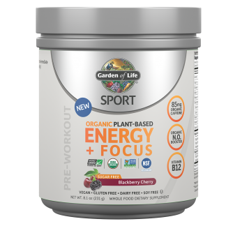 Garden of Life Sport Organic Pre Workout Energy Plus Focus Vegan Energy Powder