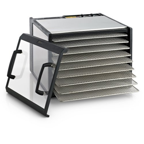 Excalibur 9-Tray Clear Door Stainless Steel Dehydrator with Stainless Steel Trays, Model D900CDSHD