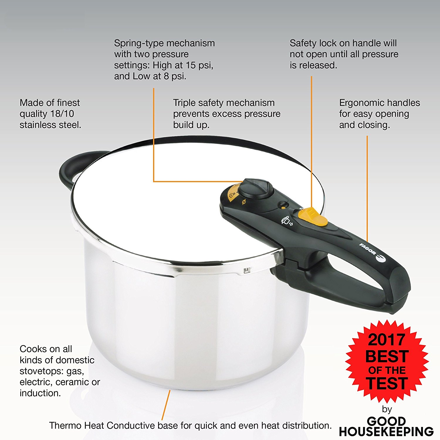 Fagor DUO 8 Quart - Multi-Setting Pressure Cooker and Canner with Accessories, Polished Stainless Steel - 918060787