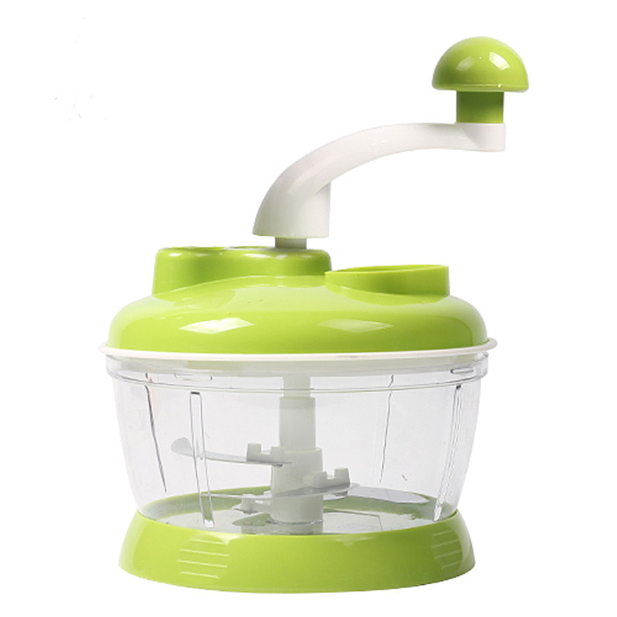 Portable and Manual Vegetable Chopper - Round, Compact, Green