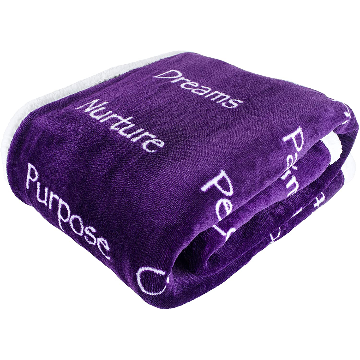 Plant-Based-Pros-Healing-Blanket-with-Inspirational-Message-of-Love-Hope-Happiness-and-Health-Purple